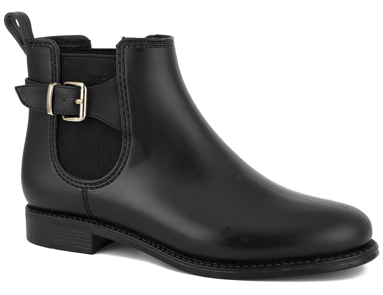 MaxMuxun Women Shoes Chelsea Block Heels Classic Rain Boots B074V481FZ 38 EU/7 US Black