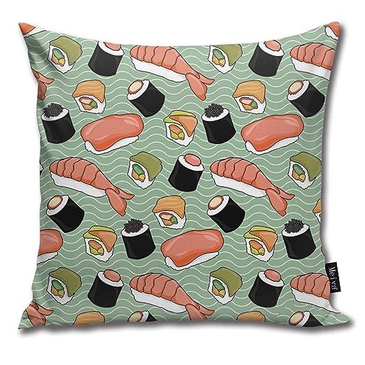 Sotyi-ltd Sushi Lovers Funda de Almohada Decorativa para cojín de Regalo para cumpleaños, Boda, Pareja, Aniversario, graduación, 18 x 18 Pulgadas