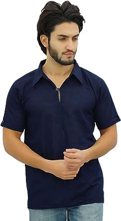 Atasi Hombres del Algodón Kurta Manga Corta Cuello Camisa Vestimenta Informal India: Amazon.es: Ropa y accesorios