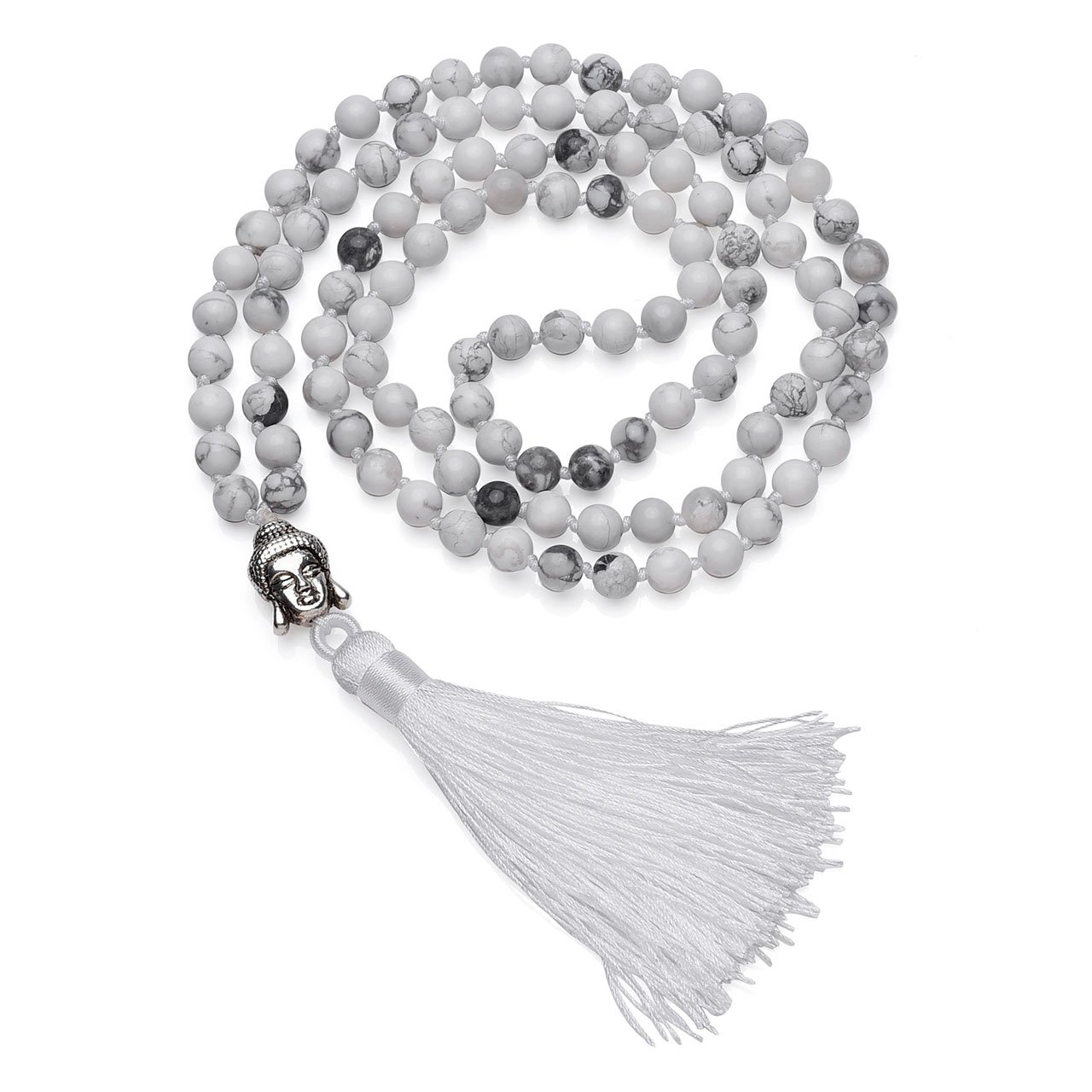 Top Plaza 108 Buddhist Prayer Mala Tibetan Beads Chakra Healing Crystals Yoga Medittion Multilayer Wrap Bracelet Necklace 6MM Gemstone W/Buddha Tassel Chram(White Turquoise)
