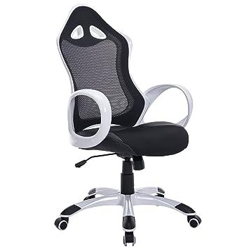 705593698fdc22 Homcom Fauteuil chaise de bureau ergonomique pivotant 360° hauteurs  réglables design contemporain bicolore textilène noir