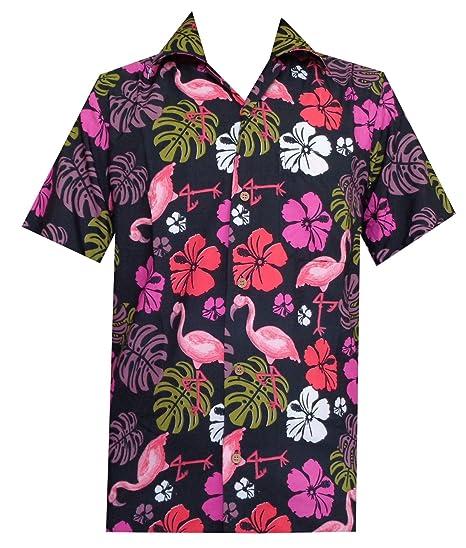 Alvish Hawaiian Shirt Flamingo Leaf Print Beach Party Holiday Casual for Men