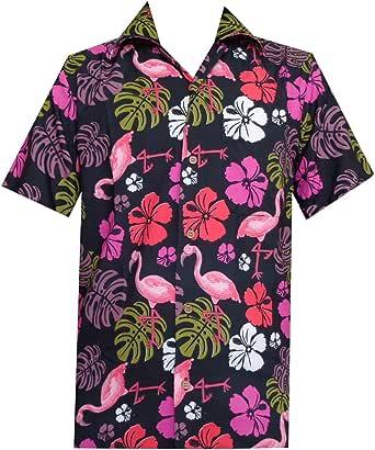 ALVISH - Camisas hawaianas de flamenco rosa para hombre, ropa de playa Aloha fiesta, casual, botón de campamento de manga corta crucero - negro - ...