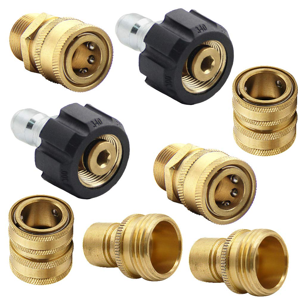 "Twinkle Star Pressure Washer Adapter Set, Quick Disconnect Kit, M22 Swivel to 3/8'' Quick Connect, 3/4"" to Quick Release"