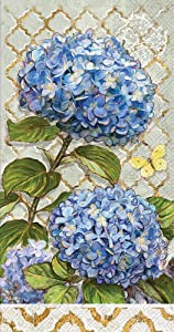 Celebrate the Home Floral 3-Ply Paper Guest/Buffet Napkins, Blue Heirloom Flowers, 20-Count
