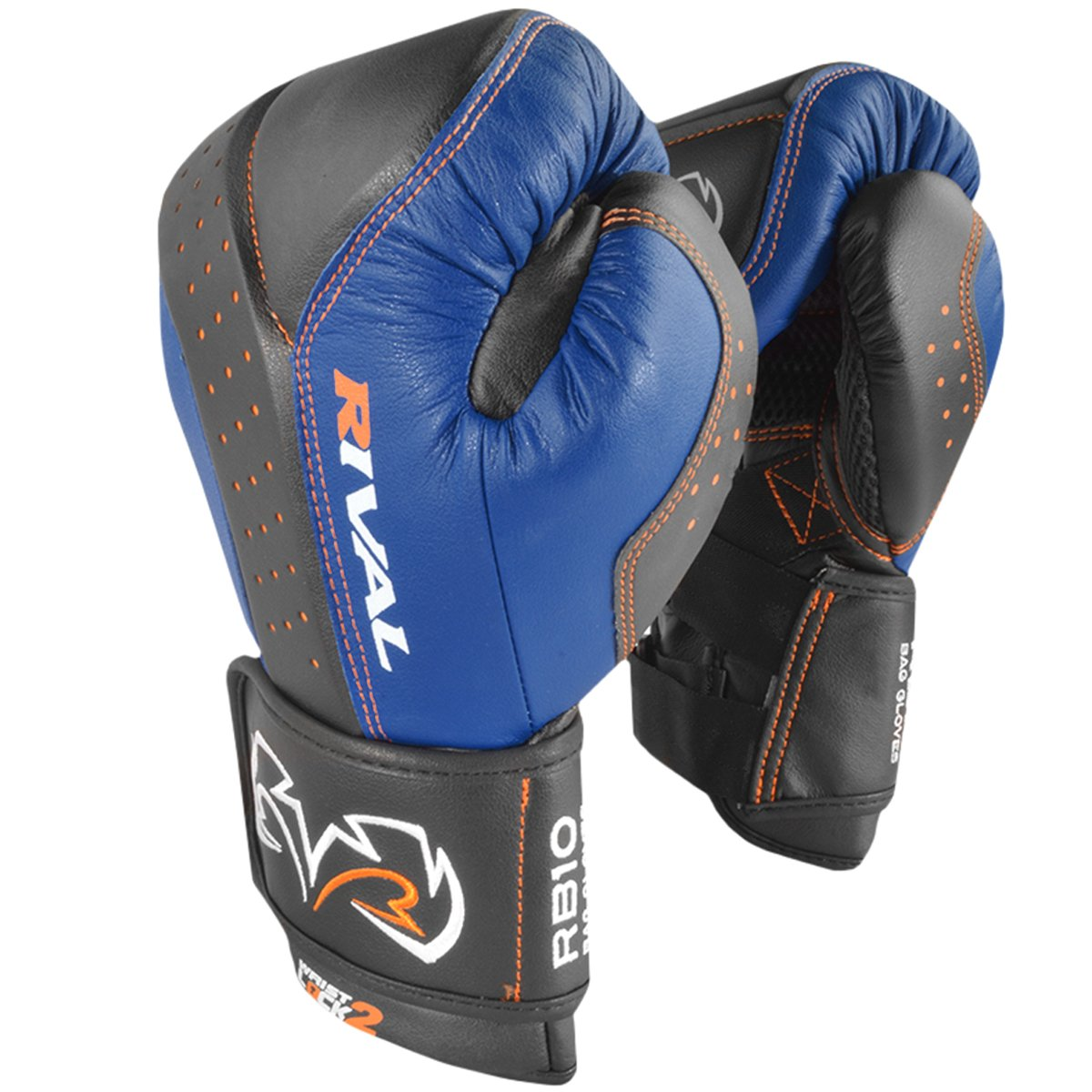 RIVAL BOXING GLOVES (RB10 INTELLI-SHOCK BAG GLOVES) (BLACK/BLUE, MEDIUM)