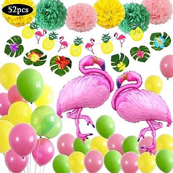 Yansion Decoración de fiesta en la playa hawaiana,Suministros fiesta de verano tropical con 6 hojas,6 flores,2 globos grandes flamenco 30 Globos 1 ...