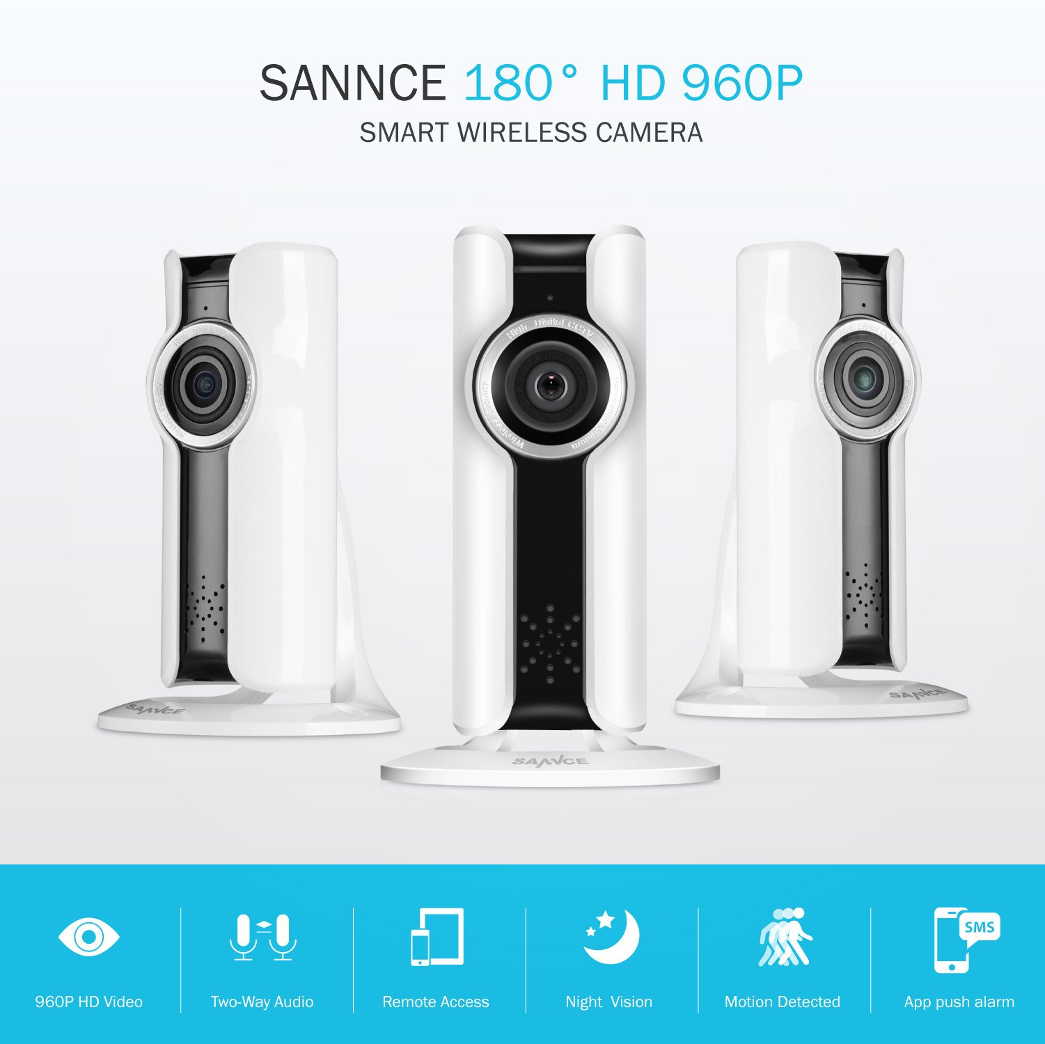 SANNCE (3) Security Wireless IP Camera Surveillance - Night Vision Home Security Camera with 2 Way Audio and Pan/Tilt Motion Detection Alerts, Easy Remote Access for Tablet and Smartphone