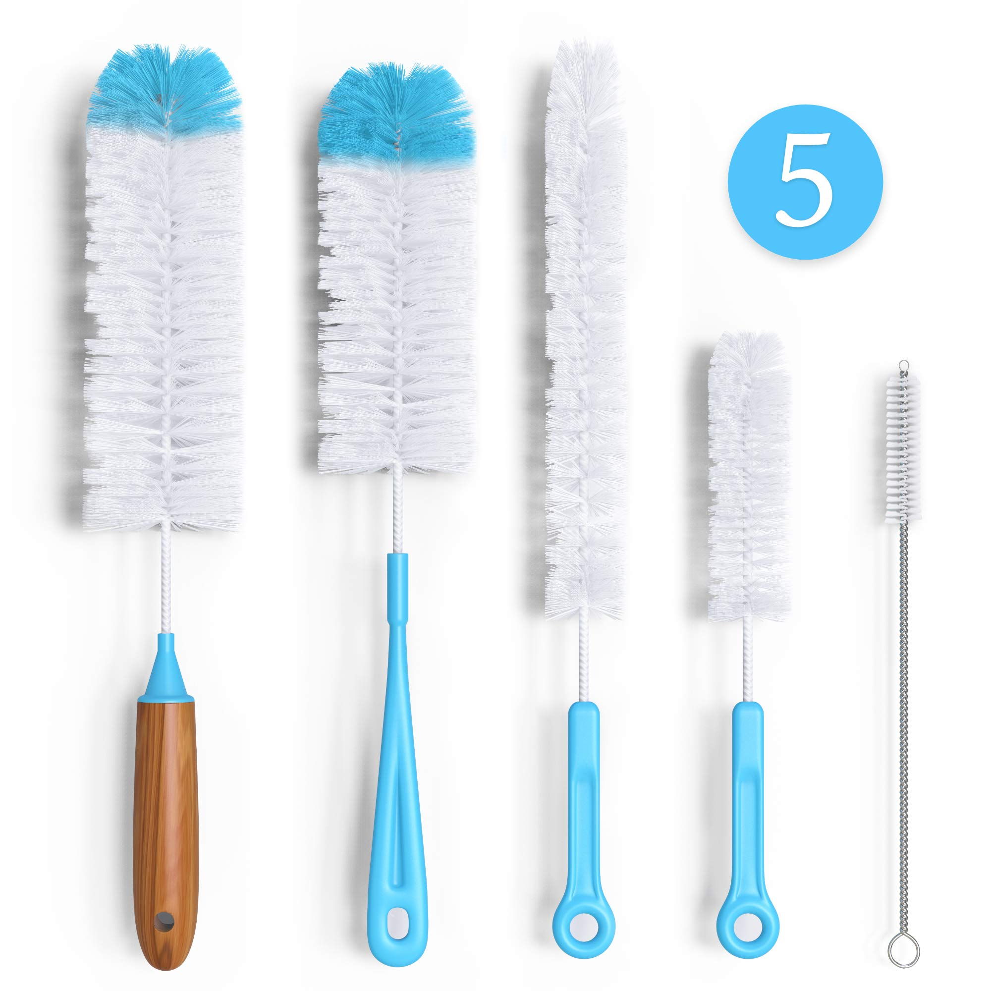 Bottle Brush Cleaner 5 Pack - Long Water Bottle and Straw Cleaning Brush - Kitchen Wire Scrub Set for Washing, Wine Decanter, Baby, Kombucha, Pipes, Hydro Flask Tumbler, Sinks, Beer Brewing Supplies by BluBox