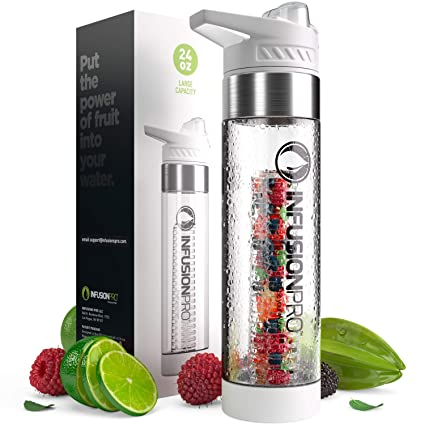 bb7597ab87 Infusion Pro Premium Fruit Infused Water Bottle (2 Pack or 1 Pack)  Insulating Sleeves and Flavored Water Recipe eBook Included, Bottom Infuser  Style with ...