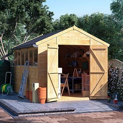 12 x 8 cobertizo de madera experto BillyOh la lengua y Groove Apex taller cobertizo