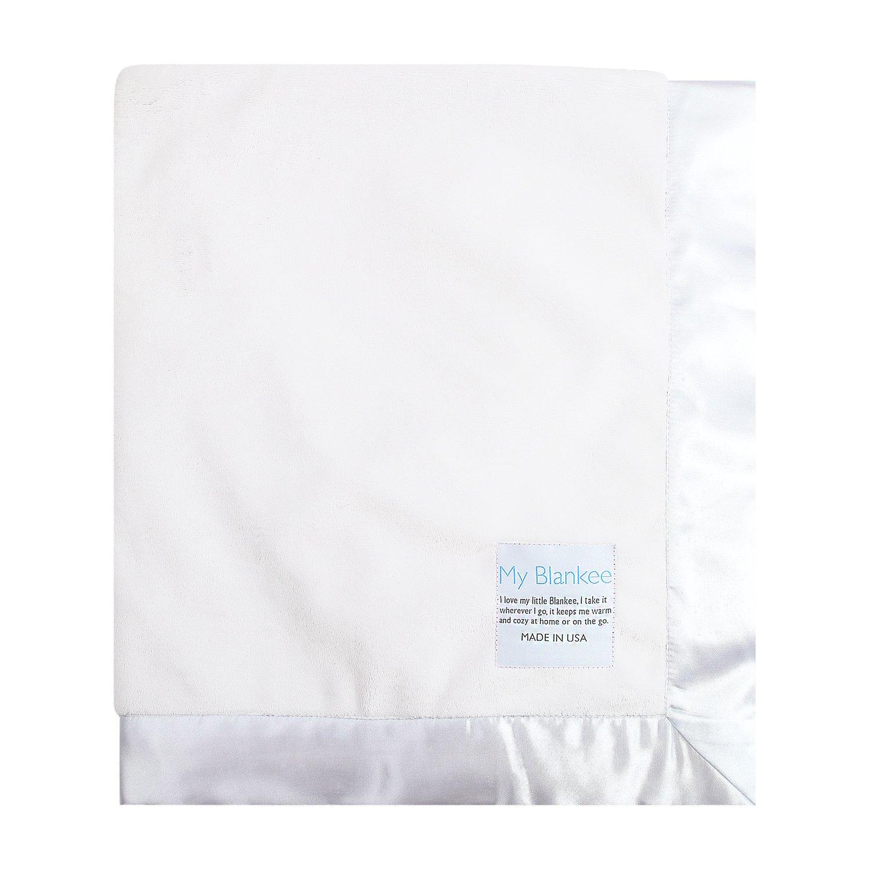 My Blankee Minky Super Throw Blanket with Flat Satin Border, White, 60'' x 70''