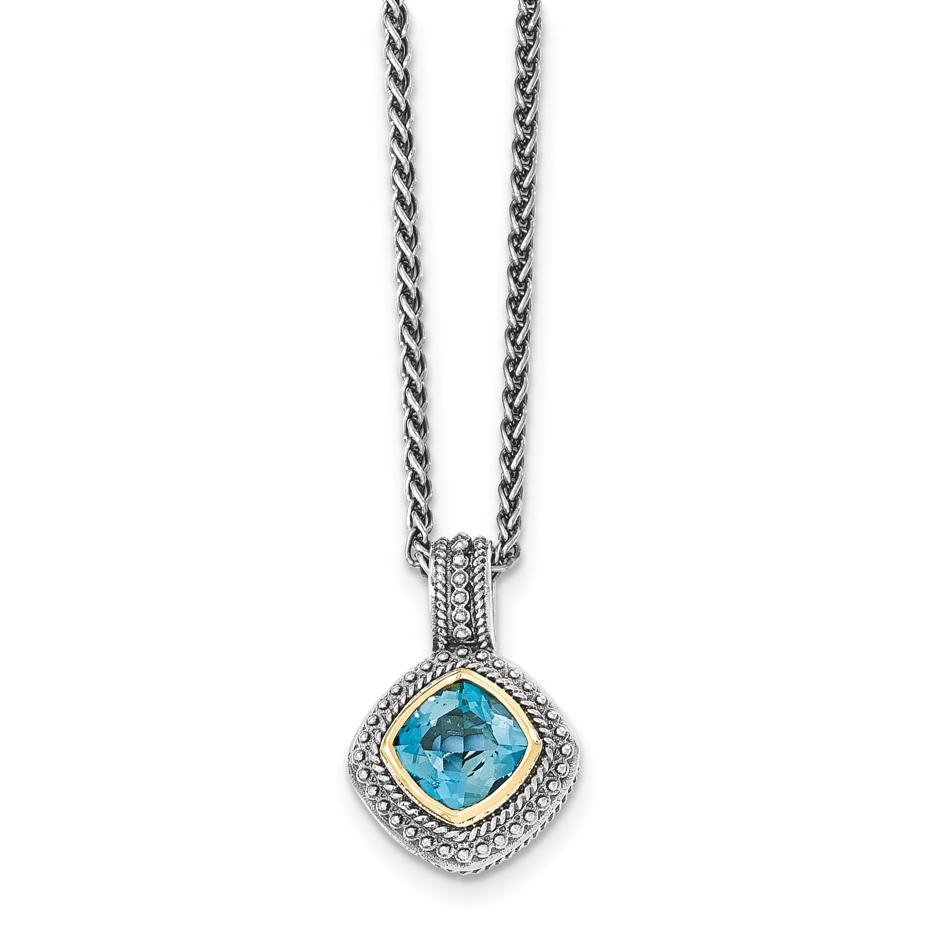 ICE CARATS 925 Sterling Silver 14k London Blue Topaz Chain Necklace Gemstone