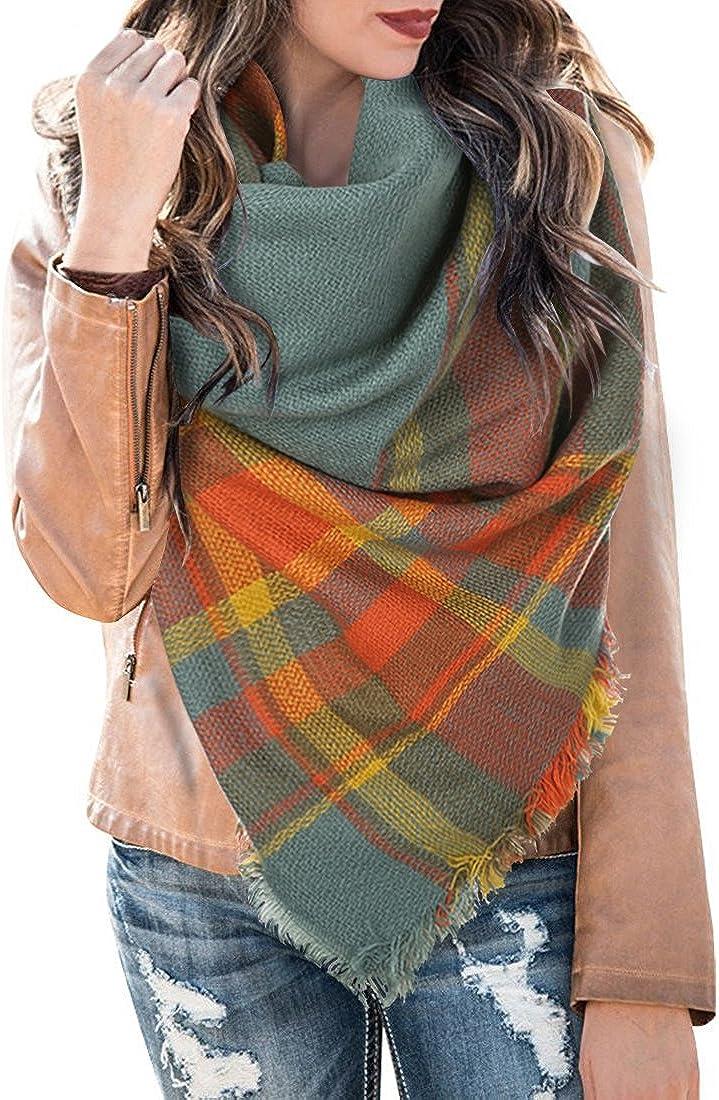 Plaid Blanket Scarf Winter...