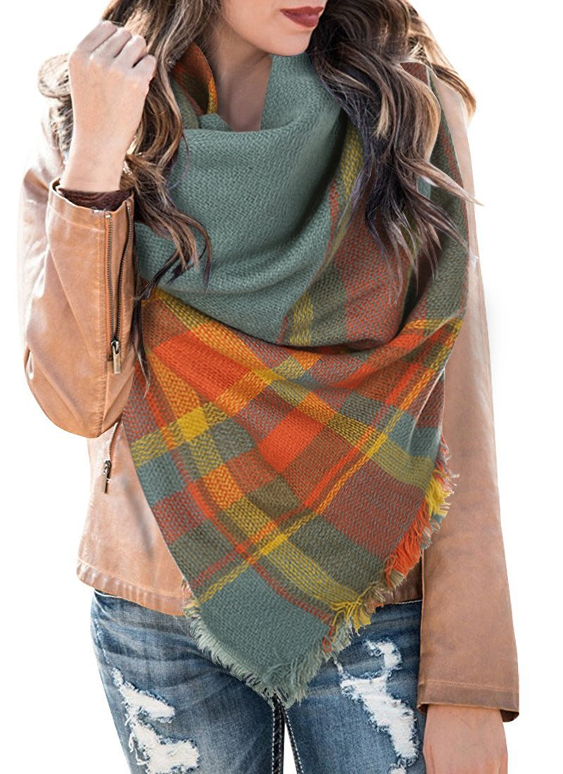 Womens Plaid Blanket Scarf Winter Soft Tassel Scarfs Gorgeous Wrap Shawl By Chuanqi Style-01