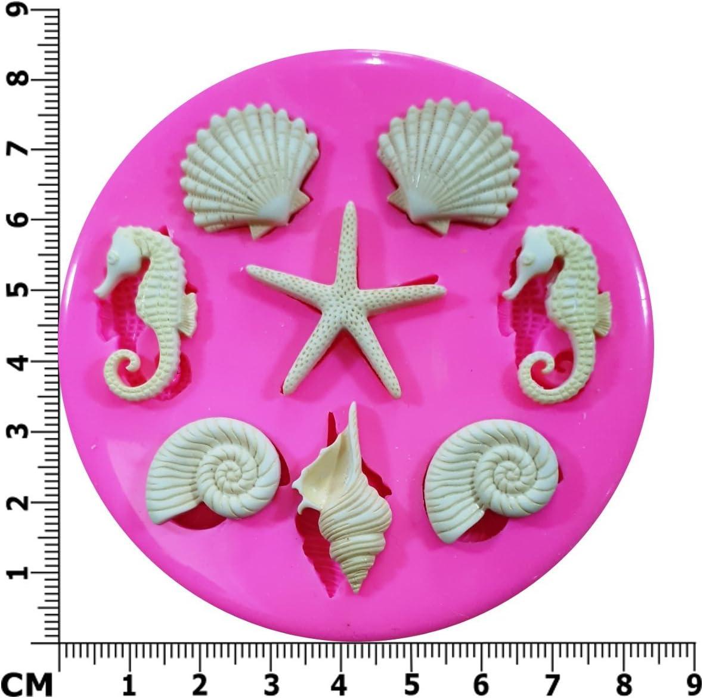 Costa de conchas de mar Estrella de mar y Seahorses molde de ...