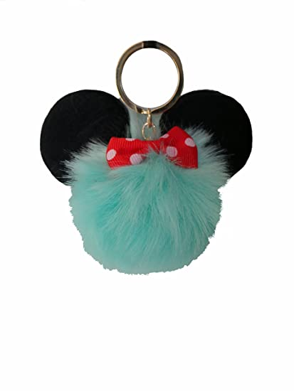 Amazon.com  Mickey Ears Pom Pom Keychain Furry Faux Fur Great Gift Fluffy Key  chain Purse Puff Ball - (Aqua)  Clothing eac6d1db2