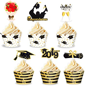 48pcs 24 Sets Graduation Cupcake Toppers And Wrapper 2019 Glitter Cake Decorations Black And