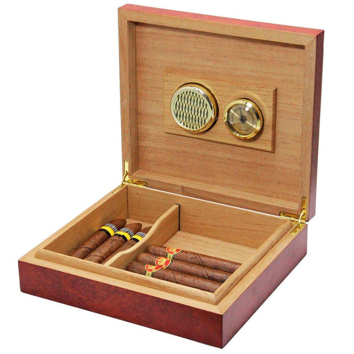 HOT SALE Cedar Wood Lined Humidor Humidifier Case Box With Hygrometer(Size: 240x215x65mm)