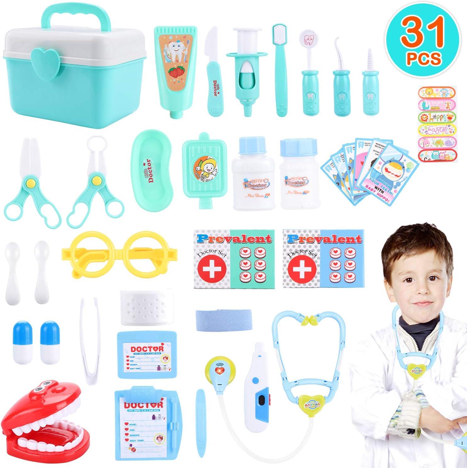 Maletín Doctor, joylink 31Pcs Doctora Juguetes Cuadro Médico Conjunto Enfermera Médico Kit Juego de Rol Cuadro Médico Maletín de Médico Juegos de médicos para Niñas Niños