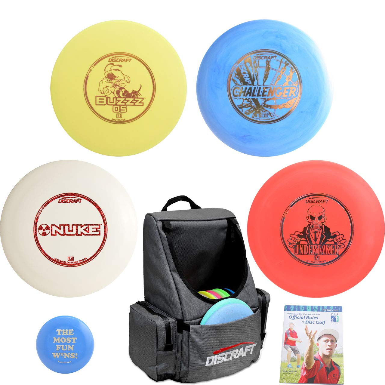 Discraft Complete Disc Golf Advanced Set Gift Bundle - Tournament Backpack Bag, 2 Drivers, Mid-Range, Putter + Mini Marker Disc & Rules (Gray) by Discraft