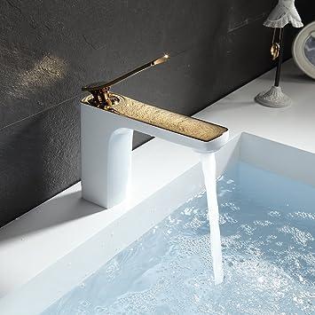 Gimili Amaturen Badezimmer Wasserhahn Bad Armatur Weiss Gold  Waschtischarmatur Mischbatterie Waschbecken