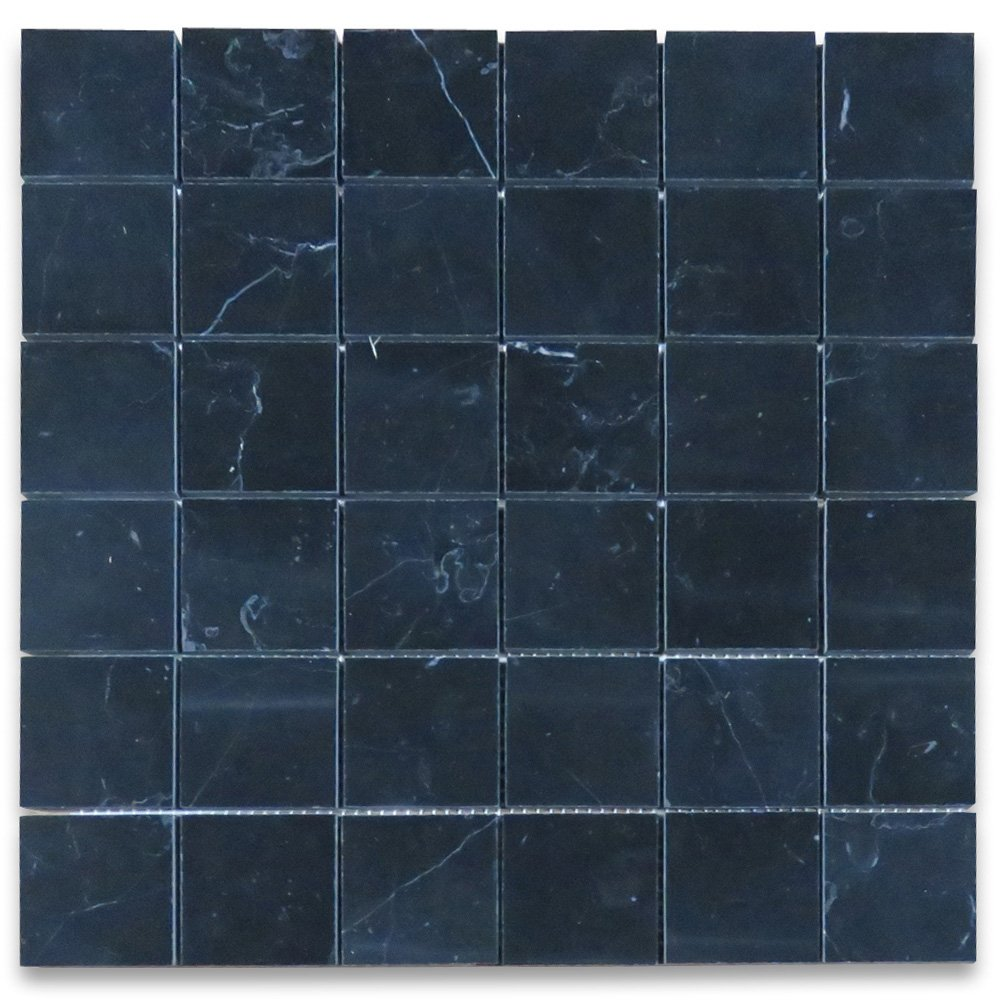 Nero Marquina Black Marble Square Mosaic Tile 2 x 2 Polished ...