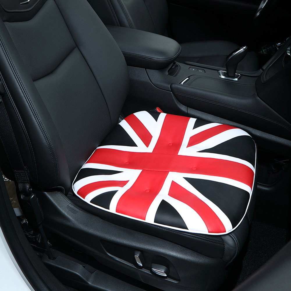 Big Ant Car Seat Cushion, Comfort PU Leather Car Seat Pad Union Jack Seat Cover Pad Mat with 100% Polyester Fiber Filling for Auto Supplies Office Chair Home Use-1PC