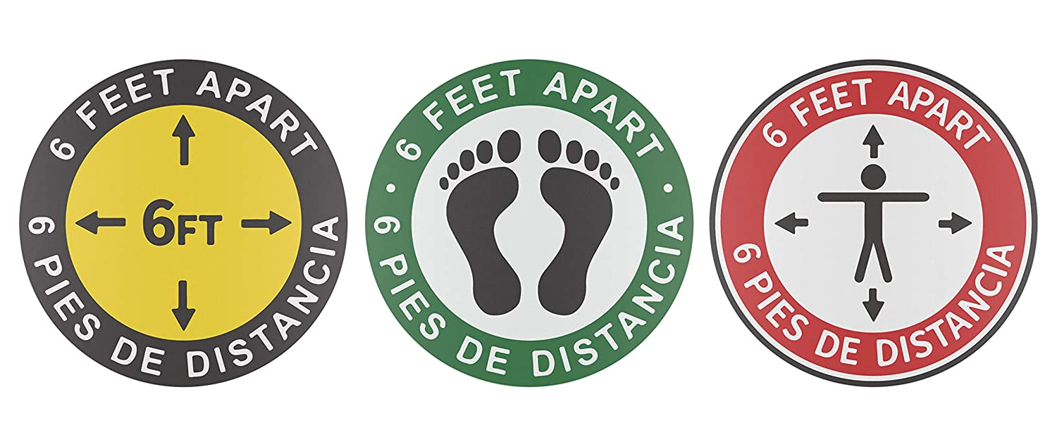 5PCS Safe Social Distancing Floor Decal Stickers Stop 6 Feet Apart Stand Public