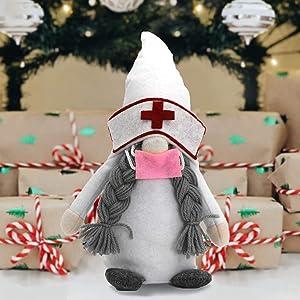 VOKUA Christmas Gnome Decorations, Handmade Swedish Tomte Gnomes Plush Elf , for Home Household Table Shelf Decor (White)