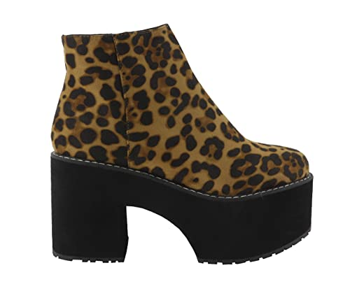 Botín Mujer Leopardo, tacón Ancho con Plataforma.: Amazon.es: Zapatos y complementos