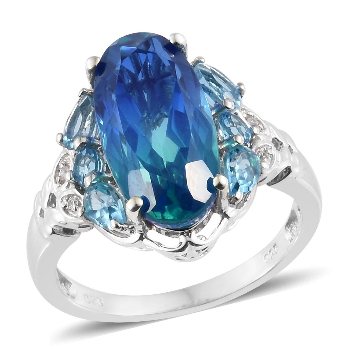 925 Sterling Silver Platinum Plated Oval Ocean Quartz, Blue Topaz Fashion Ring for Women Size 7 Cttw 7.8