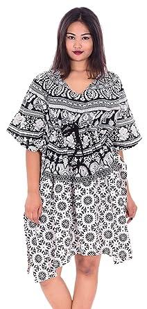 77dd137caa Indian 100% Cotton Women Cocktail Dress Floral Print Black   White Color  Kaftan Hippie Boho