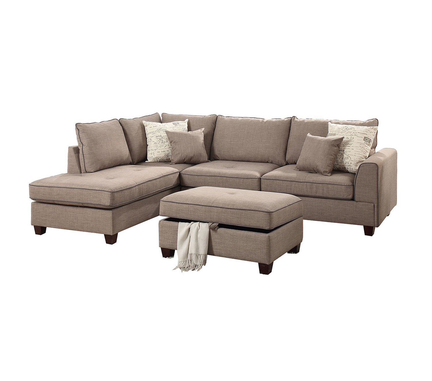 Poundex PDEX- Living Room Chaise Lounges, Mocha by Poundex