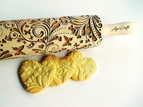Engraved Rolling Pin Wedding DAISY regular ornament Rolling pin Wooden Rolling Pin Decorative Roller for Cookies Birthday Baptism