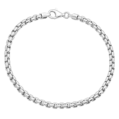 Fine Anklets Solid 925 Sterling Silver 3.2mm Italian Round Rolo Cable Link Chain Anklet Fine Jewelry