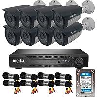 ULSTRA Kit 8 cámaras de Seguridad AHD con 500GB Accesorios Incluidos Circuito Cerrado Ver en Celular o PC Sistema de Seguridad