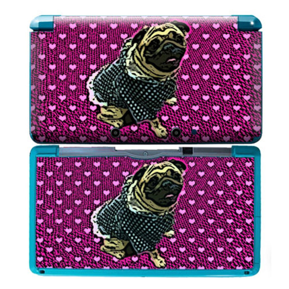 HAPPY PUG Nintendo 3DS Cover Skin Decal Sticker Vinyl Matte Finish + Free Screen Protectors (For Old Version Prior 2015)