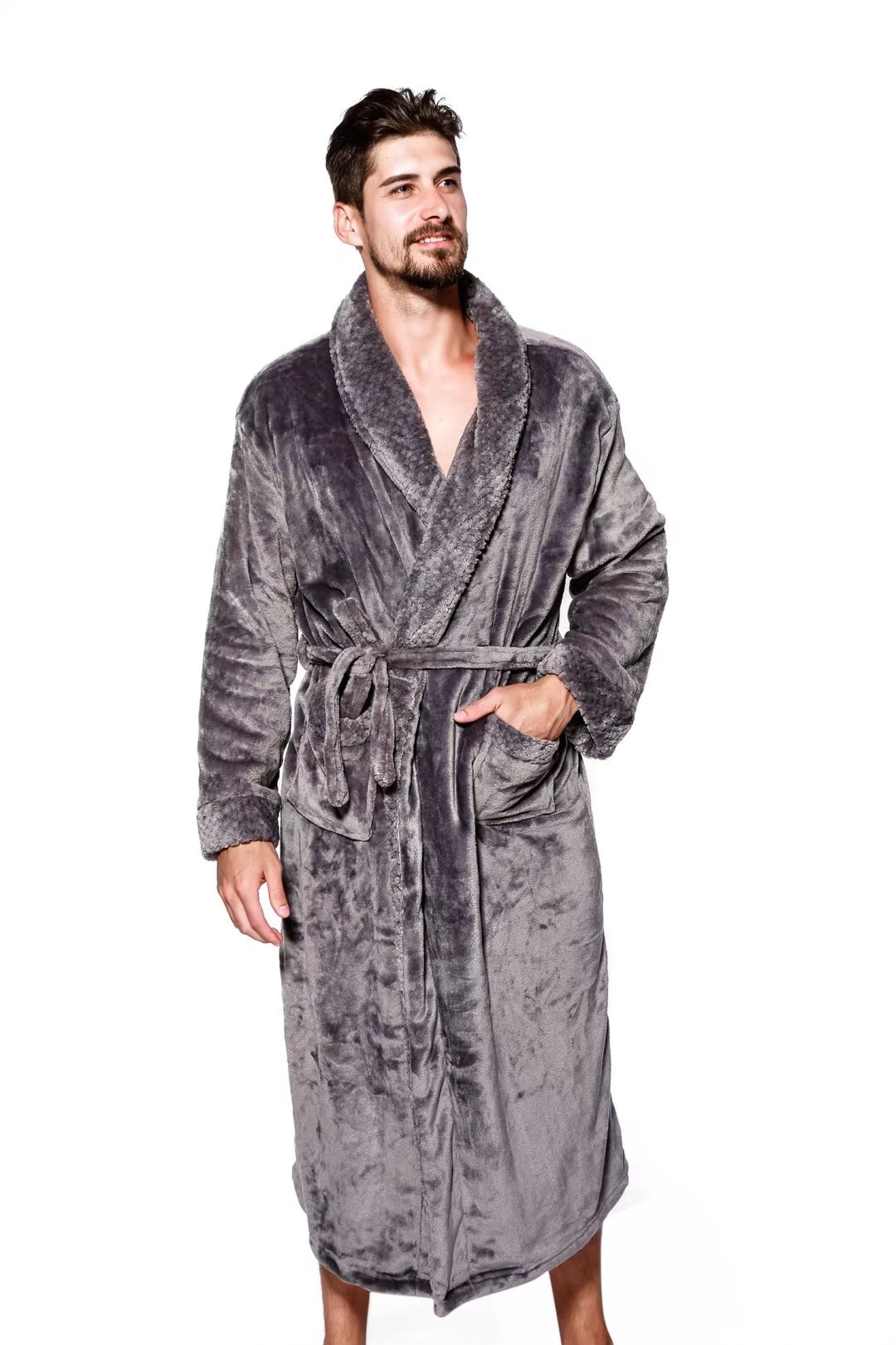 YOUAREFACNY 2018 New Arrival Full Length Big & Tall Robes,Long Cotton Bathrobes Terry Kimono Grey XL