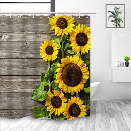 Sunflower Shower Curtain 3D Printing Spring Field Rustic Flowers On Country Wooden Board Mildew