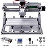 DIY CNC Router Kits 3018 GRBL Control Wood Carving Milling Engraving Machine (Working Area 30x18x4.5cm, 3 Axis, 110V-240V), with ER11 and 5mm extension rod