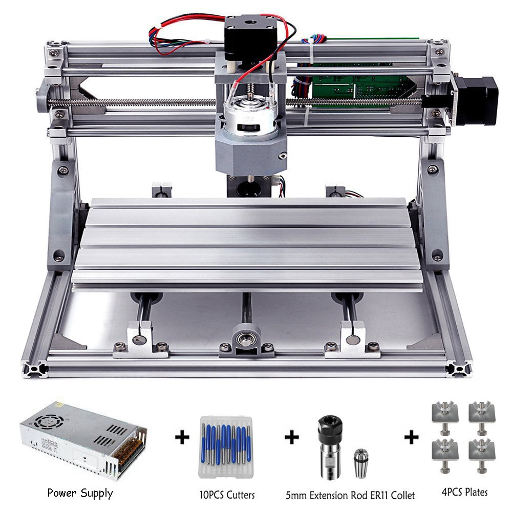DIY CNC Router Kits 3018 GRBL Control Wood Carving Milling Engraving Machine (Working Area 30x18x4.5cm, 3 Axis, 110V-240V), with ER11 and 5mm extension rod by MYSWEETY
