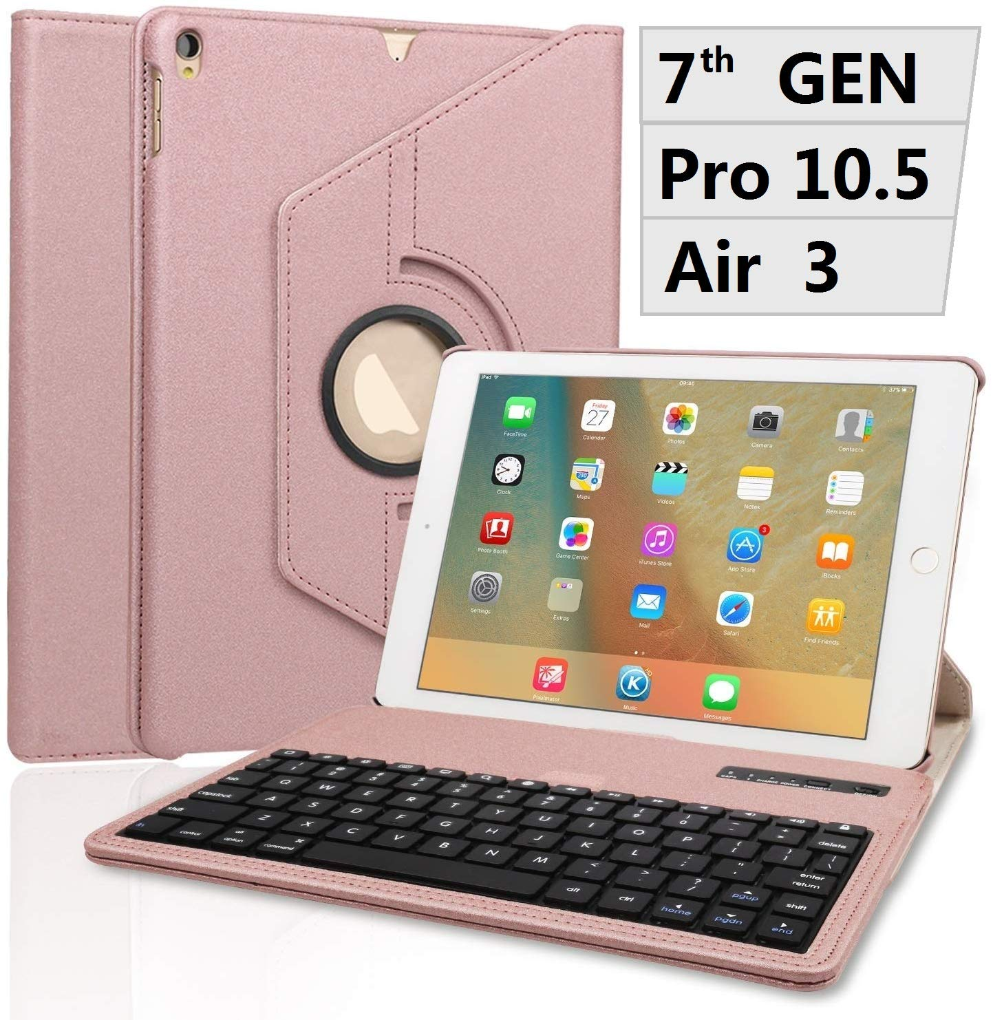 Keyboard Case for iPad 10.2 2019 - Pro 10.5 - Air 3-360 Rotating Case - Detachable Keyboard - PU Leather Stand - iPad 7th Generation Keyboard Case, (Rose Gold, 10.2inch)