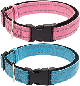EXPAWLORER 2 Pack Reflective Dog Solid Collar with Buckle, Adjustable Durable Nylon Pet Collars with Neoprene Padding for Medium to Large Dogs, Pink and Blue