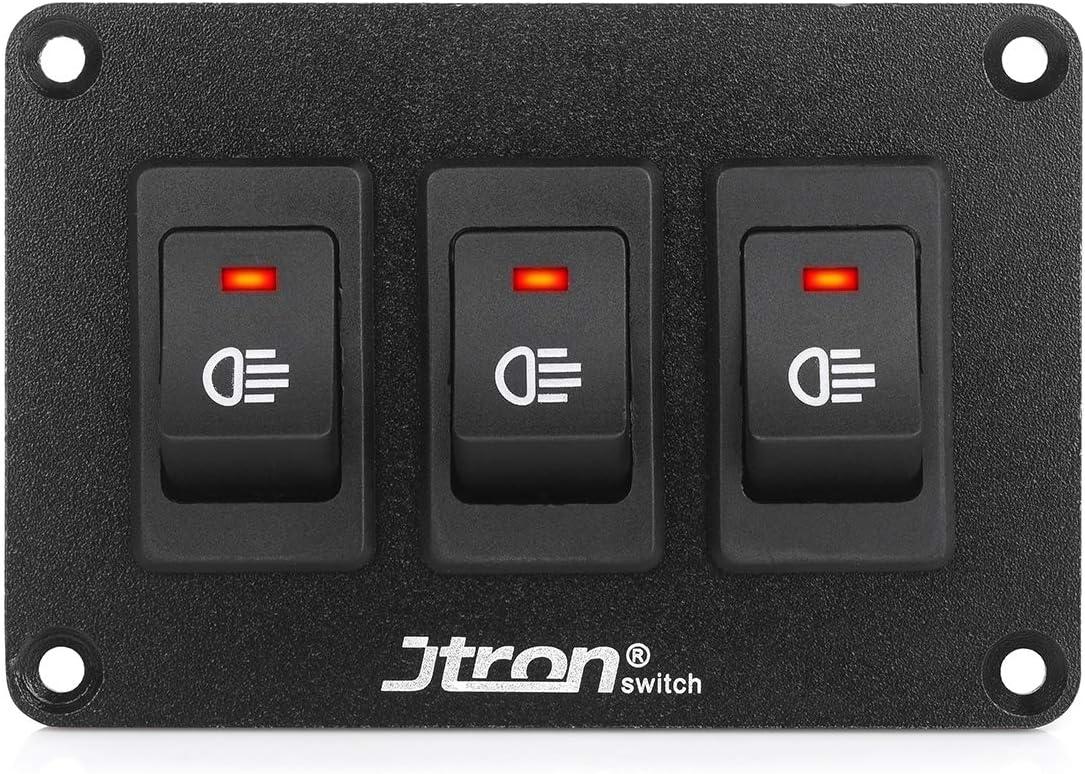 Jtron Wippschalter Panel 24v 2 Polig 2p Spst An Aus Schalter Für Nebelscheinwerfer Wippschalter 12v Beleuchtet Kfz Für Auto Boot 24v 30a 3 Rot Auto
