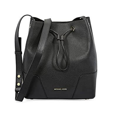 3dd882a05e06 Michael Kors Pebbled Leather Bucket Bag- Black: Handbags: Amazon.com