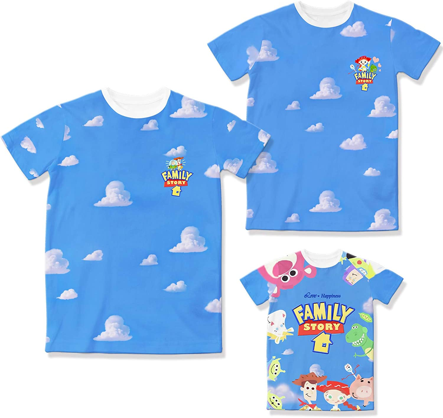 Amazon Com Toy Story 4 Family T Shirts Blue Sky Cloud Original Cartoon Logo Design Father Mother Kids Tshirts Clothing
