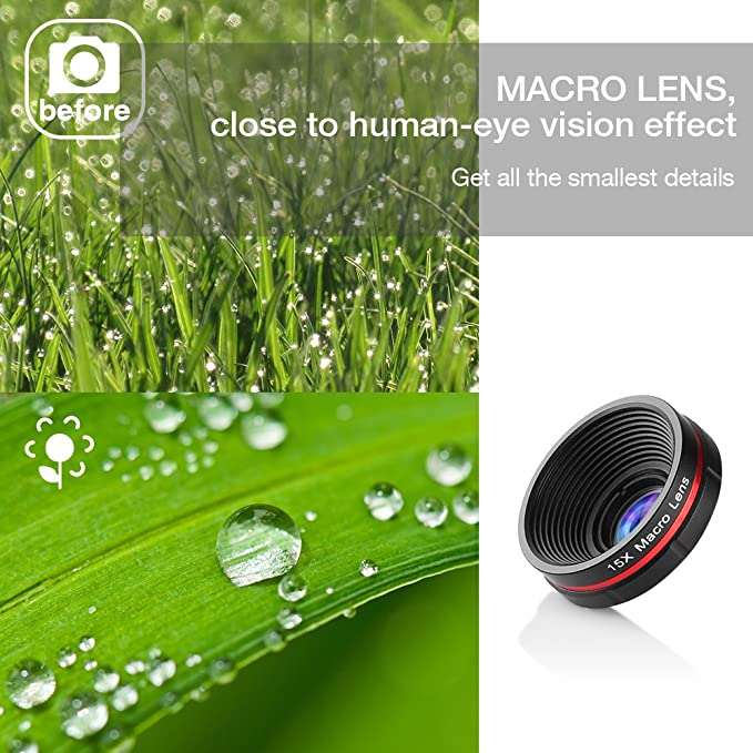 Siroflo Hd Camera Lens Kit 230 Degree Fisheye Lense 0 65x Super Wide Angle Lense 15x Macro Lense 3 In 1 Professional Universal Clip On Cell Phone