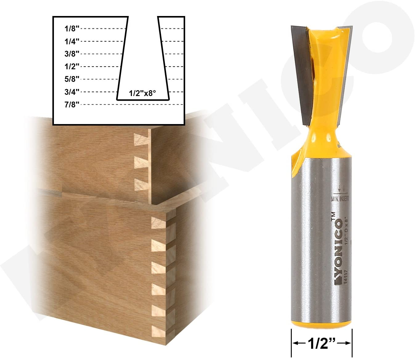 Yonico 14819 7/° X 5//8-Inch Dovetail Router Bit 1//2-Inch Shank