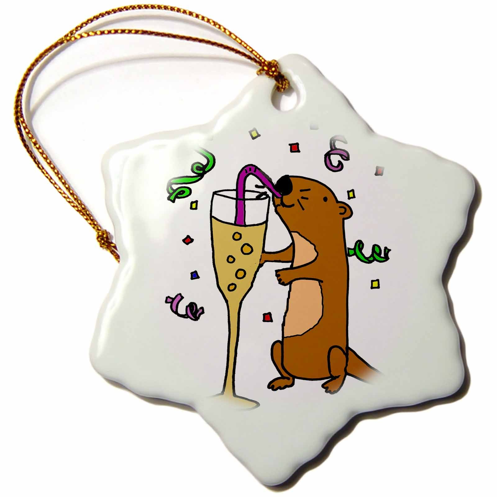 3dRose Funny Cute Sea Otter Drinking Champagne and Partying Snowflake Ornament,